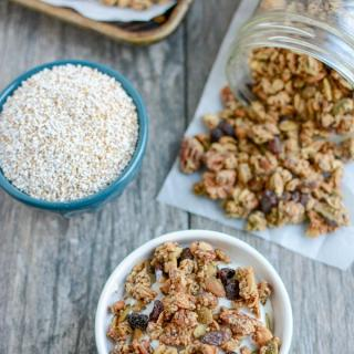 This Puffed Amaranth Granola recipe is lightly sweetened, packed with protein and perfect for a healthy breakfast or snack!