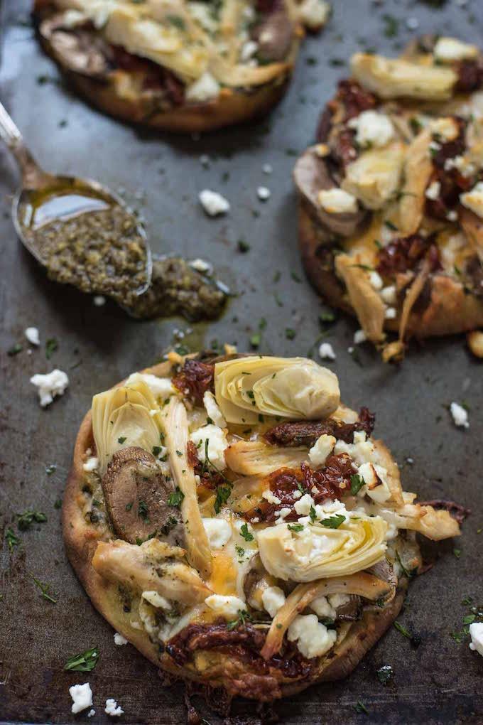 chicken pesto artichoke naan pizza