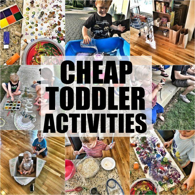 These Cheap Toddler Activities are perfect for keeping young kids entertained without spending a ton of money! Most can be done using things you probably already have around the house! Do them indoors in the winter or outside in the summer.