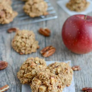 These gluten-free Apple Pecan Snack Cookies are a healthy, kid-friendly snack, breakfast or dessert. They're made with coconut and oat flour, full of fresh apples and sweetened with maple syrup.