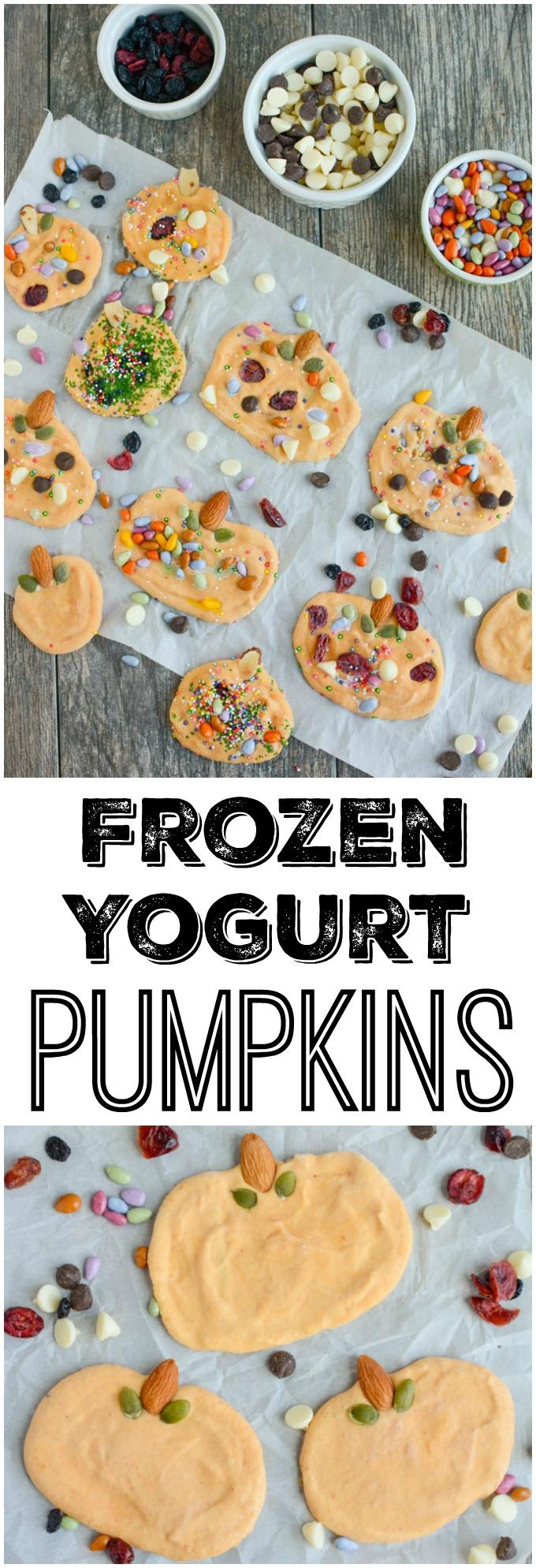 These Frozen Yogurt Pumpkins are a healthy, kid-friendly Halloween treat! They're easy to make and fun to decorate, perfect for a play date or party!