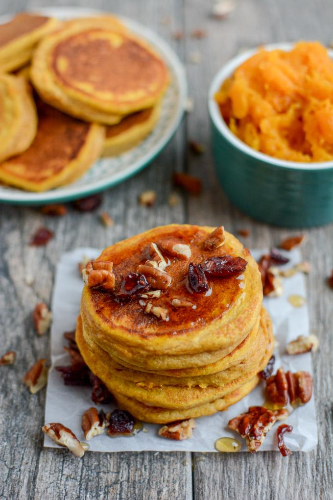 Squash Pancakes with whole wheat flour. Perfect for fall.