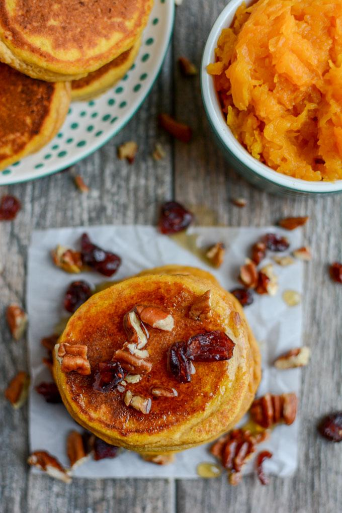 Butternut Squash Pancakes with pecans and craisins