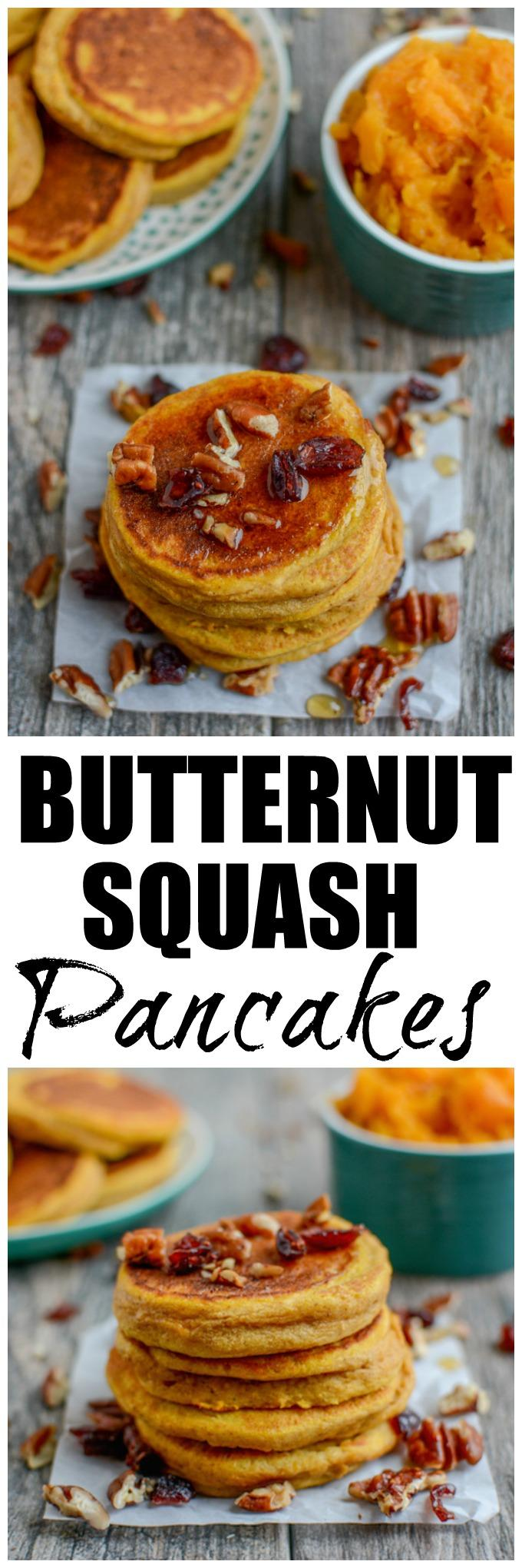 This Butternut Squash Pancakes recipe is an easy way to add some extra vegetables to breakfast! Made with just a few ingredients, they can be made ahead of time and reheated and also make a great, healthy snack!