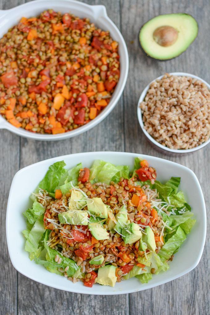 Lentil Taco Salad for a vegetarian dinner.