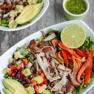Pulled Pork Fajita Salad with Pineapple Salsa