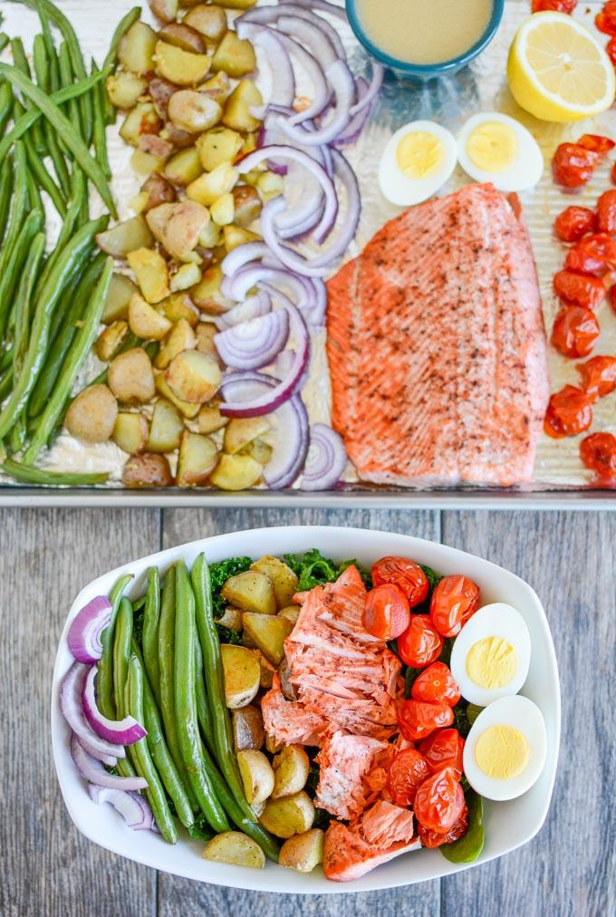 Salmon Nicoise Salad in a bowl and on a sheet pan