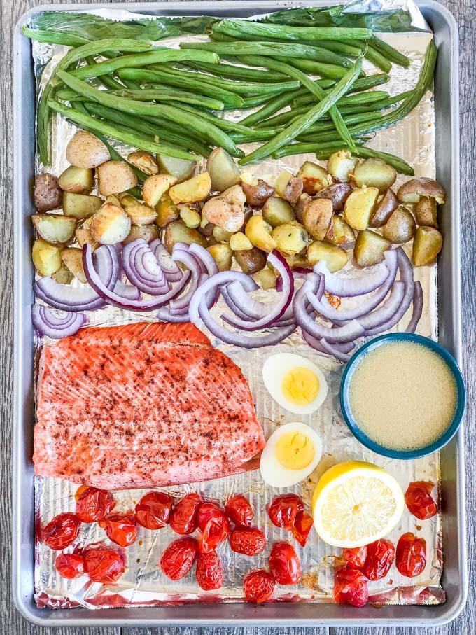 Salmon Nicoise Salad on a sheet pan