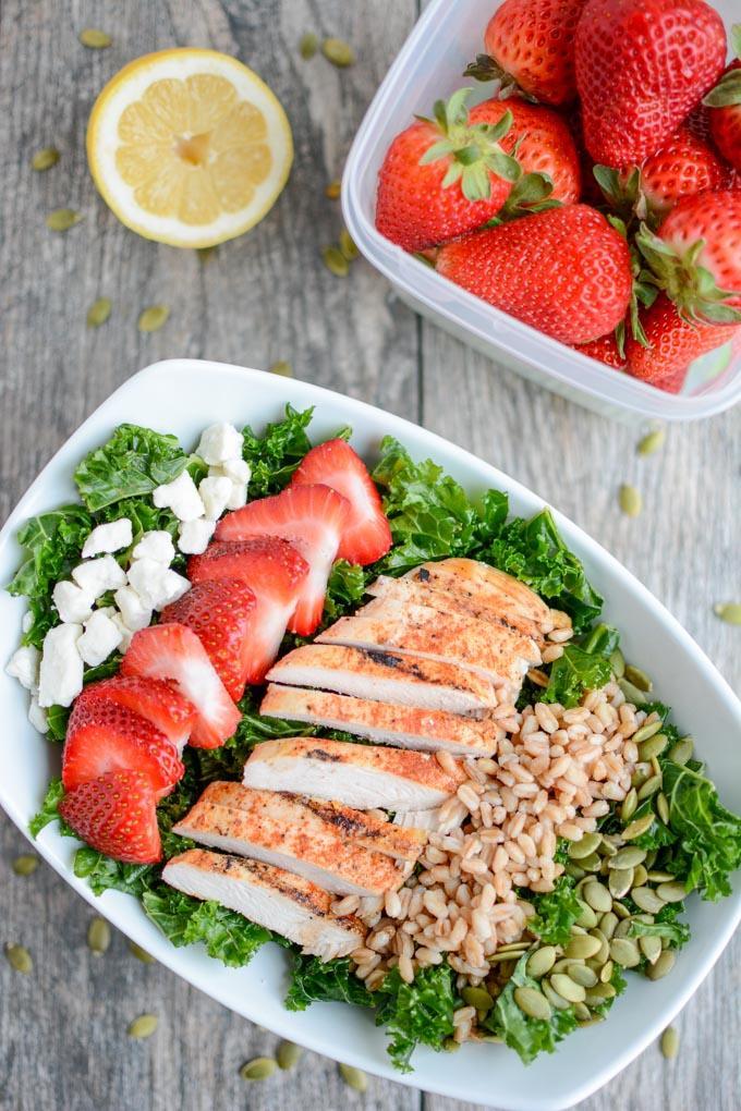 Strawberry Chicken Kale Salad
