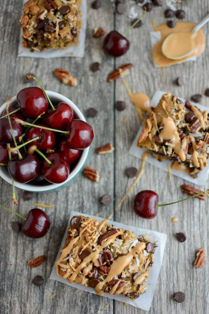 Sweet Cherry Oat Bars with Peanut Butter Drizzle