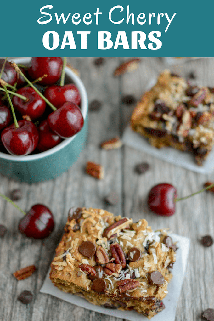 These Sweet Cherry Oat Bars are the perfect addition to breakfast on a busy weekday morning or for serving as a kid-friendly after school snack! They're lightly sweetened and full of fiber and protein.