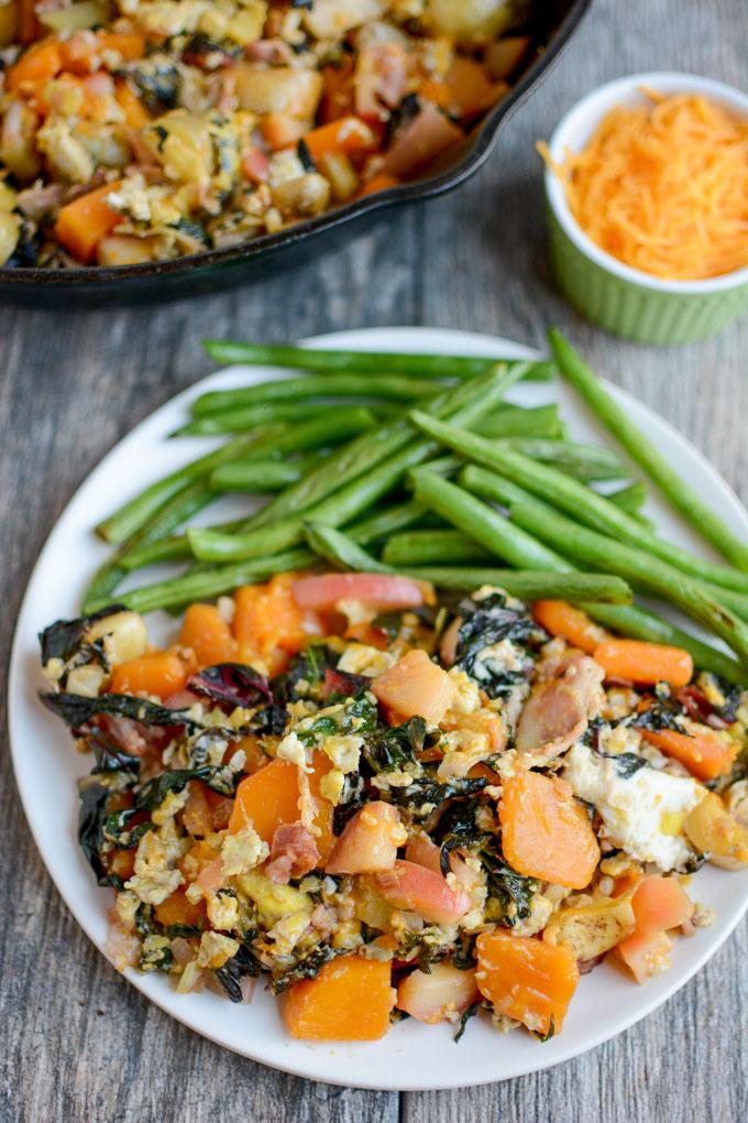 Fall Vegetable Skillet Hash with scrambled eggs