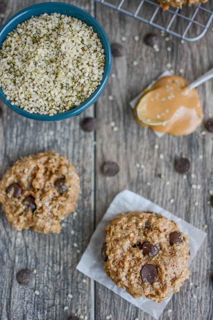 easy Peanut Butter Hemp Cookies overhead shot