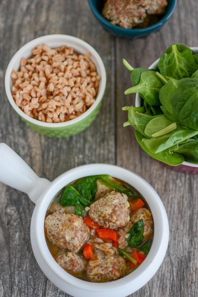 Italian Meatball and Farro Soup