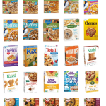 A list of Lower Sugar Cereals for Kids if you are looking for some new options for breakfasts or snacks. They all have six grams of added sugar or less and at least two grams of both protein and fiber.