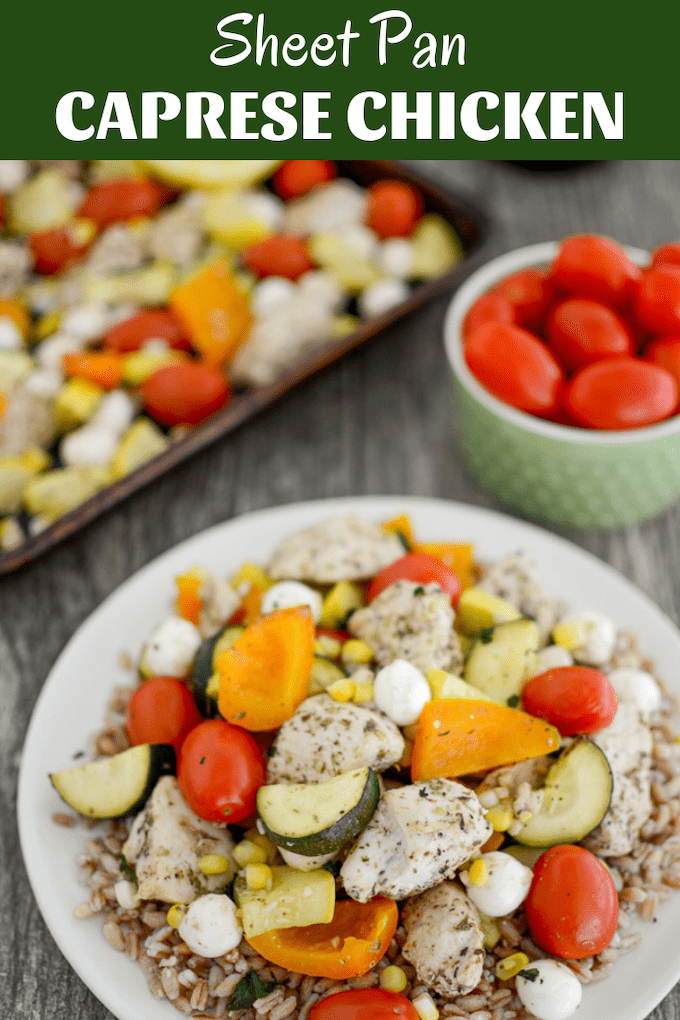 This Sheet Pan Caprese Chicken is the perfect weeknight dinner. Packed with summer vegetables and herbs for flavor, this one pan meal means cleanup is a breeze.