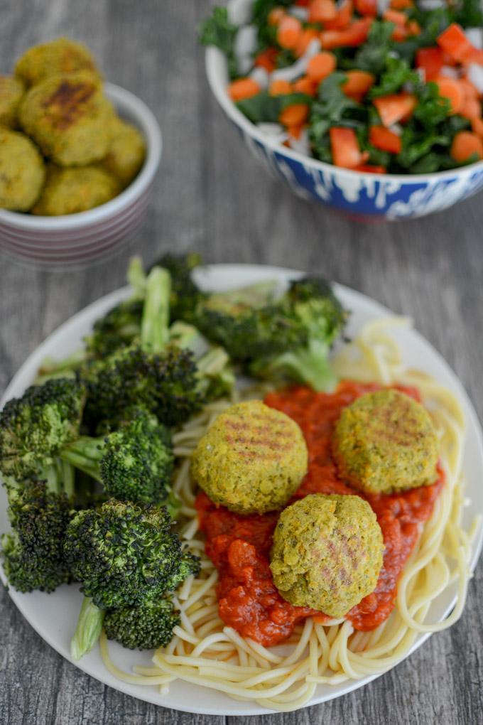 Pesto Lentil Balls over spaghetti with broccoli