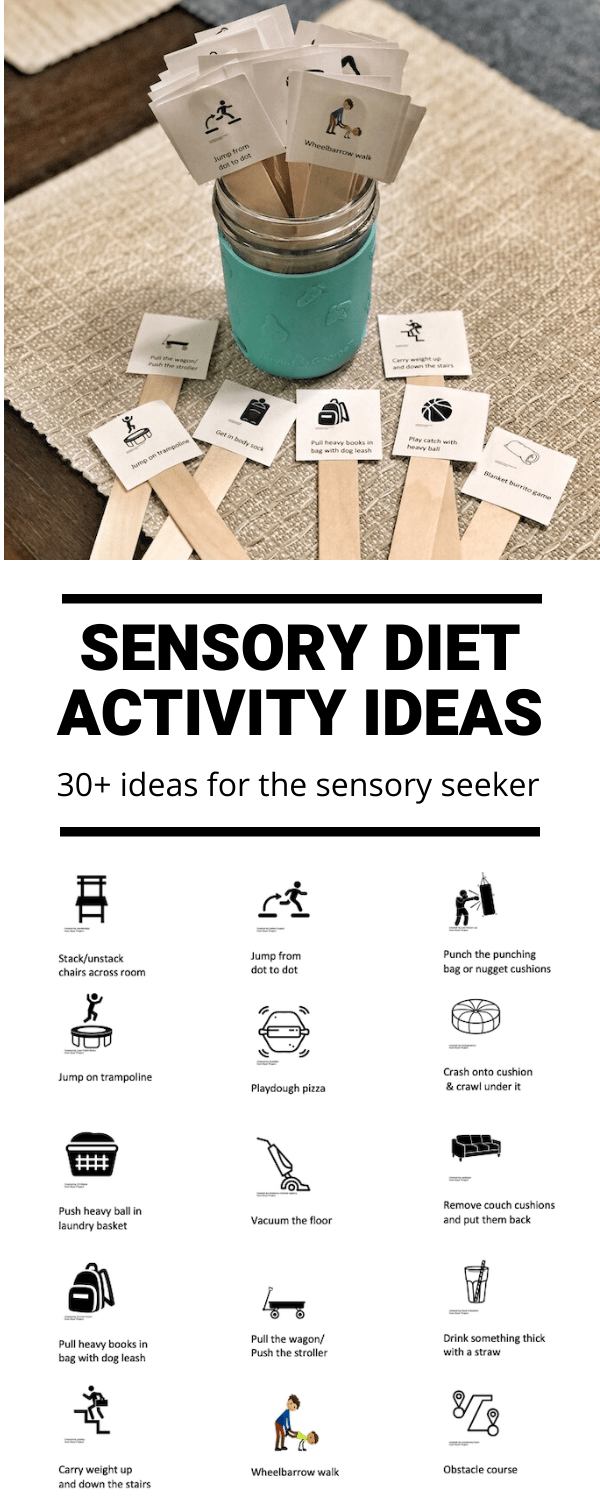 These Sensory Diet Ideas for Sensory Seekers may be helpful if your child struggles with sensory processing disorder and needs extra sensory feedback to meet their threshold. Work them in throughout the day to help the child regulate their behavior, attention and emotion.