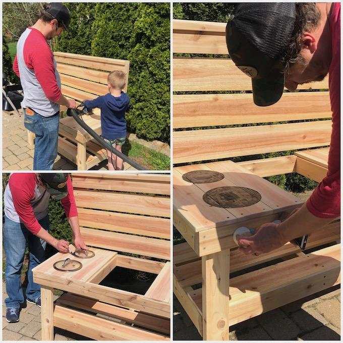 sanding a mud kitchen