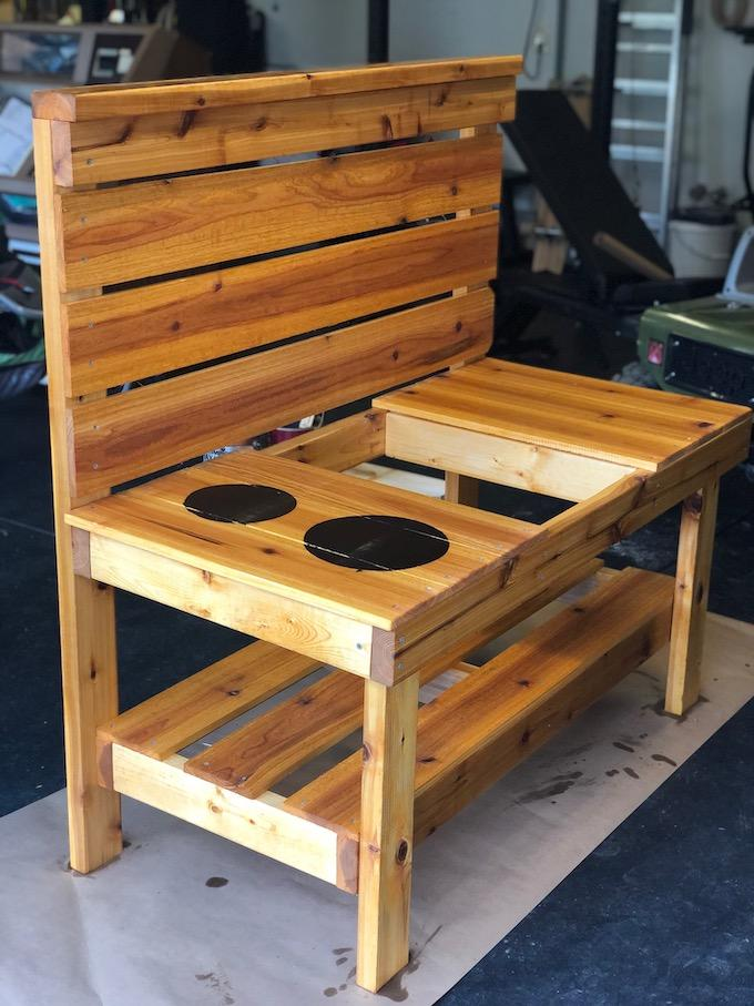 staining a mud kitchen
