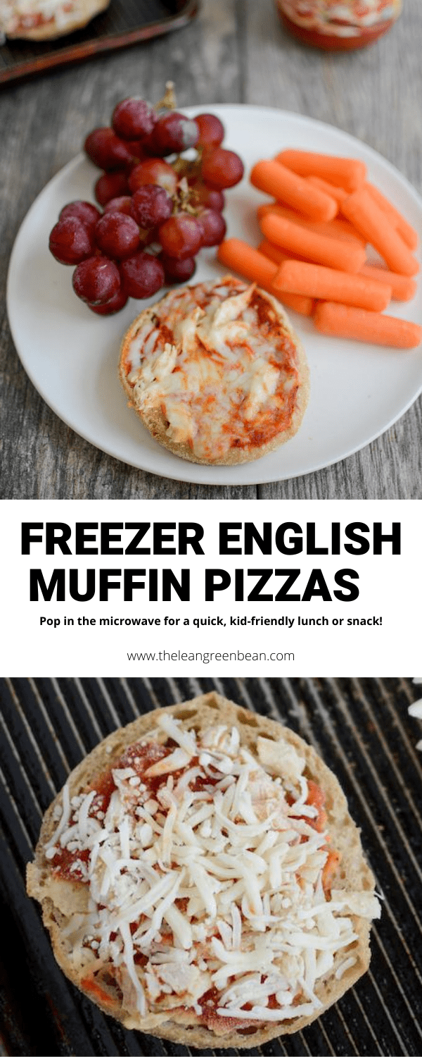 These Frozen English Muffin Mini Pizzas are perfect for a quick, kid-friendly lunch or snack. Make them ahead of time and pop in the microwave for one minute when you want one!