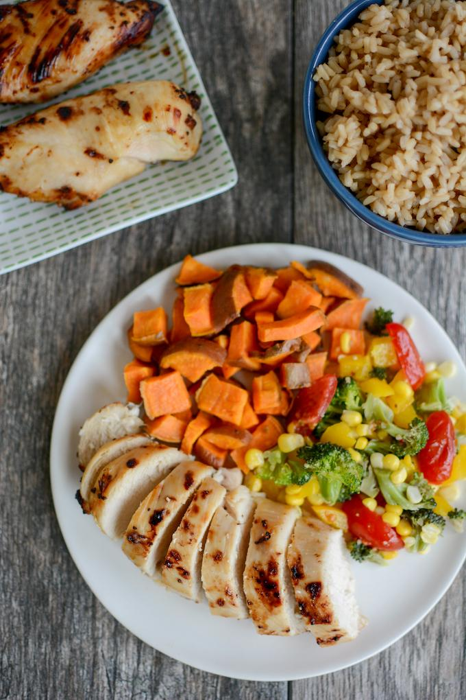 easy chicken marinade - chicken breasts, vegetables, and rice