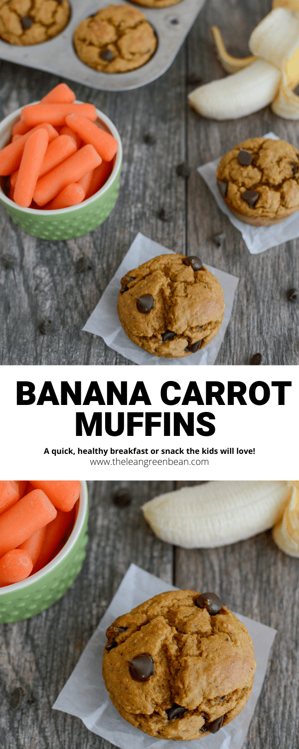 These Banana Carrot Muffins are made with simple ingredients, lightly sweetened and perfect for a kid-friendly breakfast or snack!
