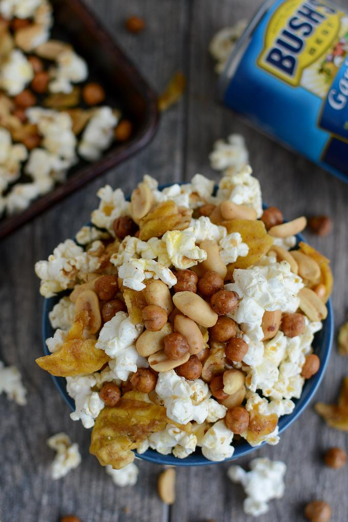 Snack mix with roasted chickpeas, plantain chips, popcorn and peanuts