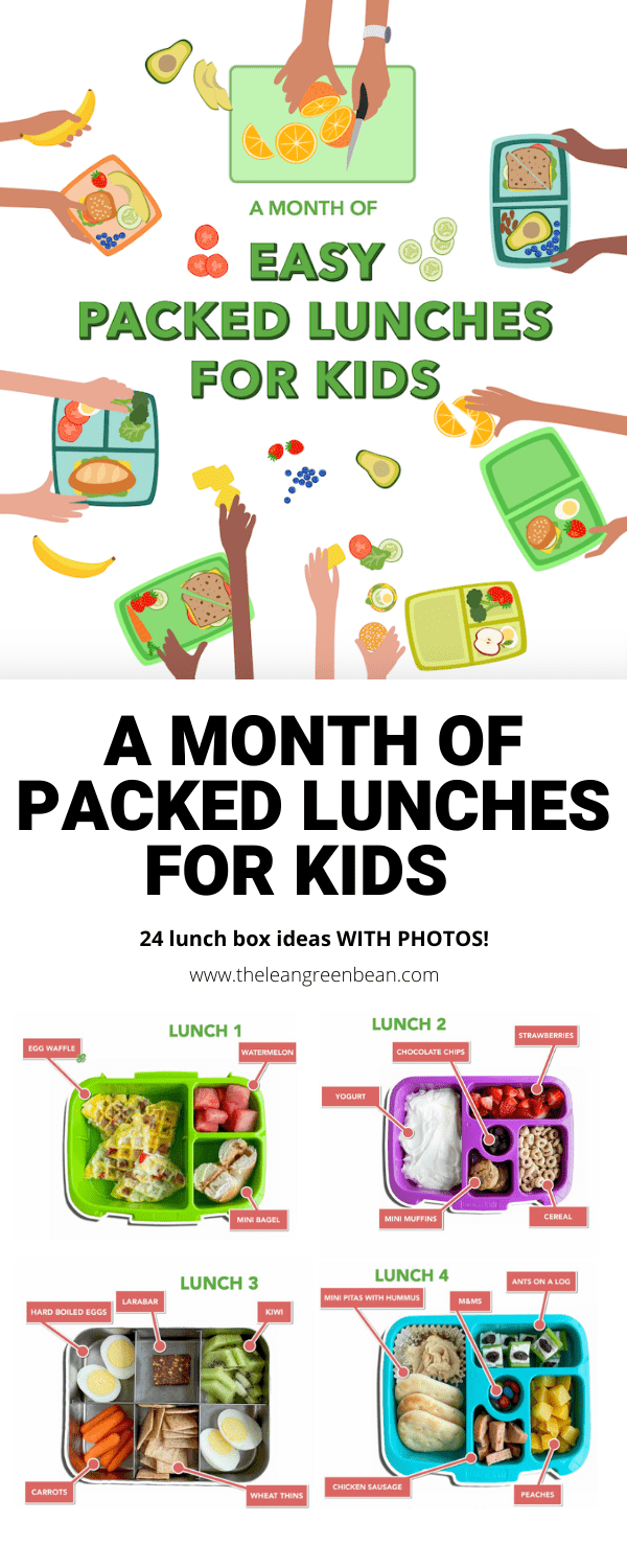 A month of packed lunch ideas for kids, including 24 lunch box photos, tips for adding variety and nut-free ideas!