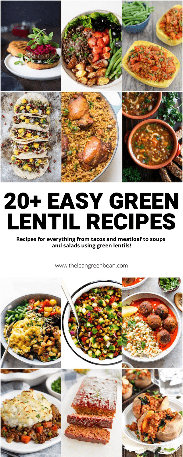 Looking for green lentil recipes? Here are 20+ healthy lentil recipes to try! Everything from curry and soup to salads and tacos, they're plant-based and full of protein, fiber & flavor.