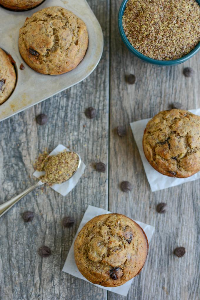 banana chocolate chip muffins recipe with flax