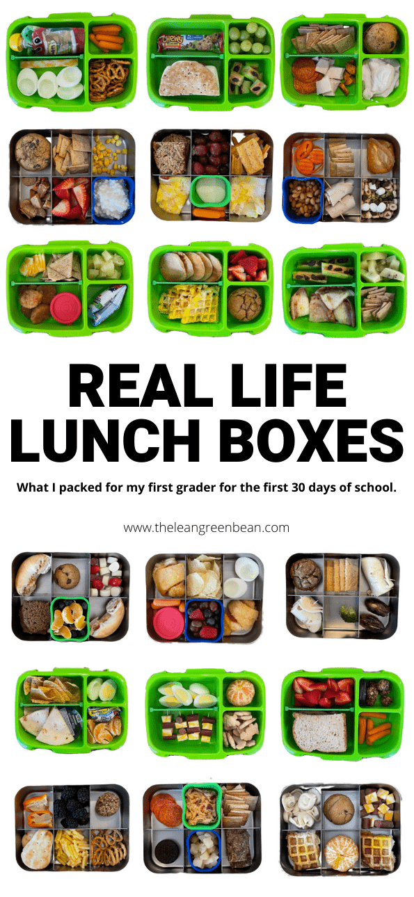 Need easy lunch box ideas for kids? Here's exactly what a Registered Dietitian mom packed her son for the first month of elementary school, with real life photos.
