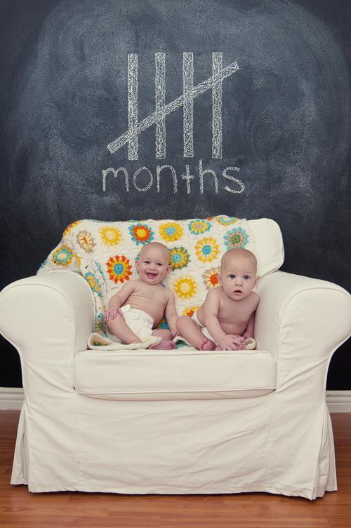 twins, 1st year, progression, growing up, chalkboard wall