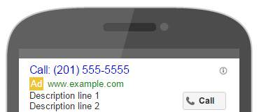 Adwords Call Only ad on mobile display.
