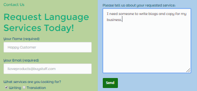 contact form for copywriting showing conversion