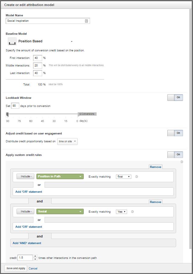 custom attribution model creation tool