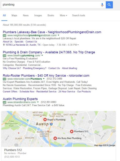 austin local search results for plumbing with 4 ads and map