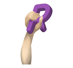 right arm holding the letter r for rightword