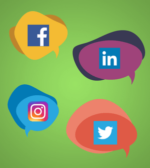 Social media icons in speech bubbles, indicating social media comments