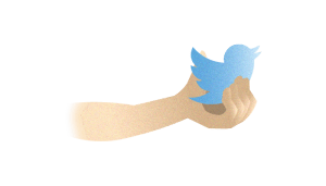 arm holding twitter bird for social outreach