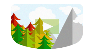 video rounded corner cutout with trees and mountain