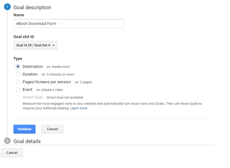 Goal Creation step in Google Analytics