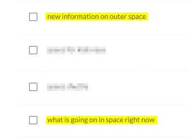 related searches for space with similar keywords highlighted