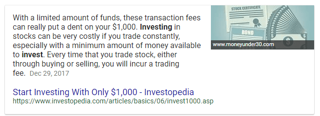 how to invest google featured snippet