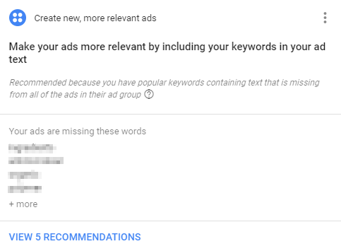 adwords relevance recommendation screenshot