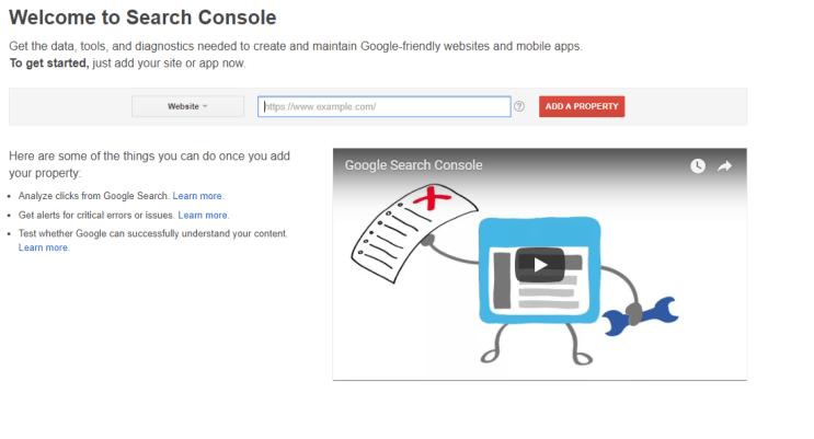 google search console home
