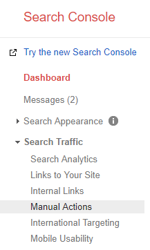 google search console manual actions