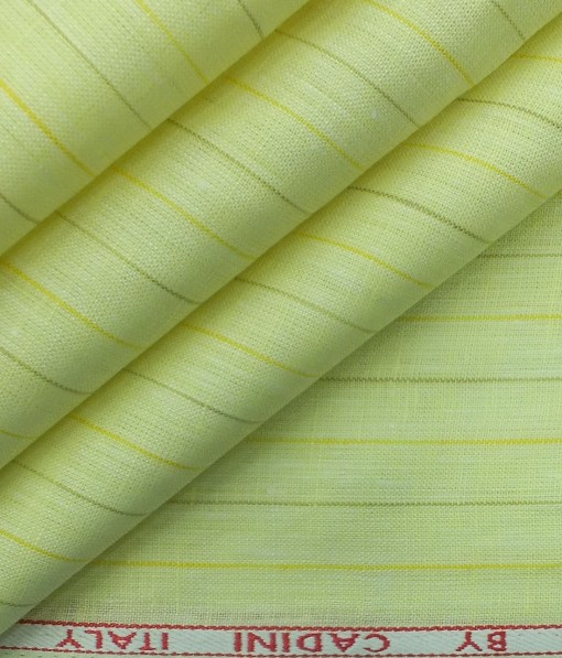 Cadini by Siyaram's Lemon Yellow 60 LEA 100% Pure Linen Striped Shirt Fabric