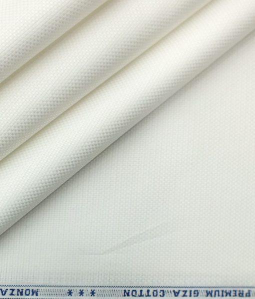 Monza Men's White Giza Cotton Jute Weave Shirt Fabric