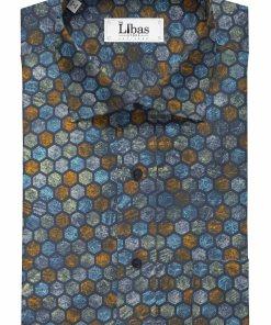 Cadini by Siyaram's Men's Dark Blue 100% Superfine Cotton Multi Color Printed Shirt Fabric (1.60 M)